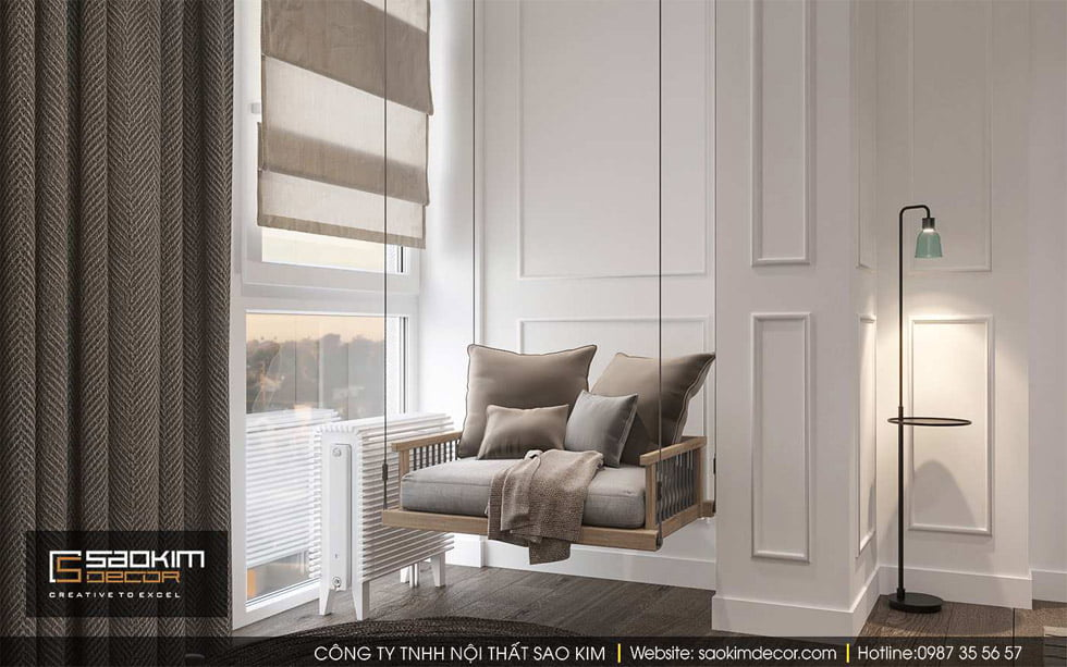Thiết kế chung cư 91m2 Gold Tower với góc thư giãn nhỏ