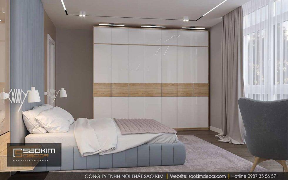 Thiết kế phòng ngủ master chung cư Gold Tower Nguyễn Trãi