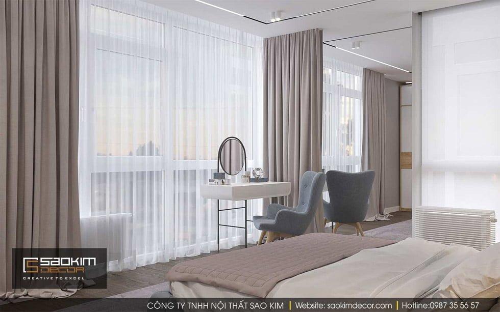 Thiết kế phòng ngủ master chung cư 90m2 Gold Tower Nguyễn Trãi