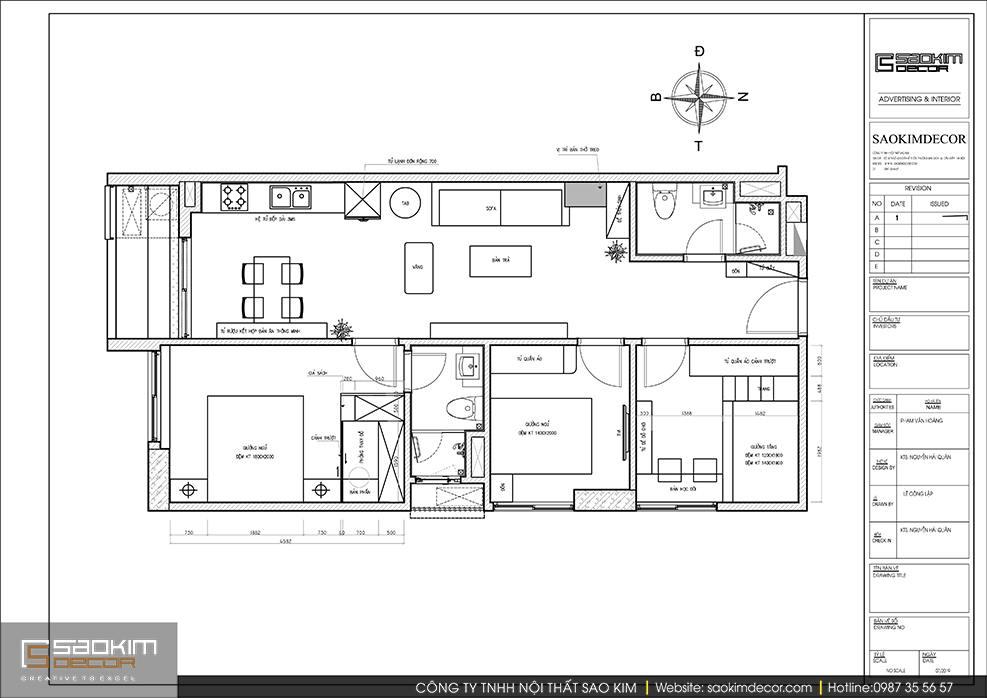 Bản vẽ mặt bằng thiết kế chung cư 3 phòng ngủ Sky Central