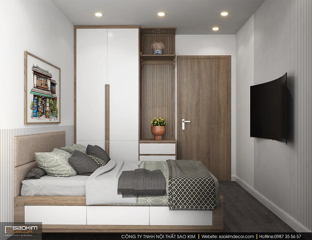 Thiết kế nội thất phòng ngủ chung cư Sky Central