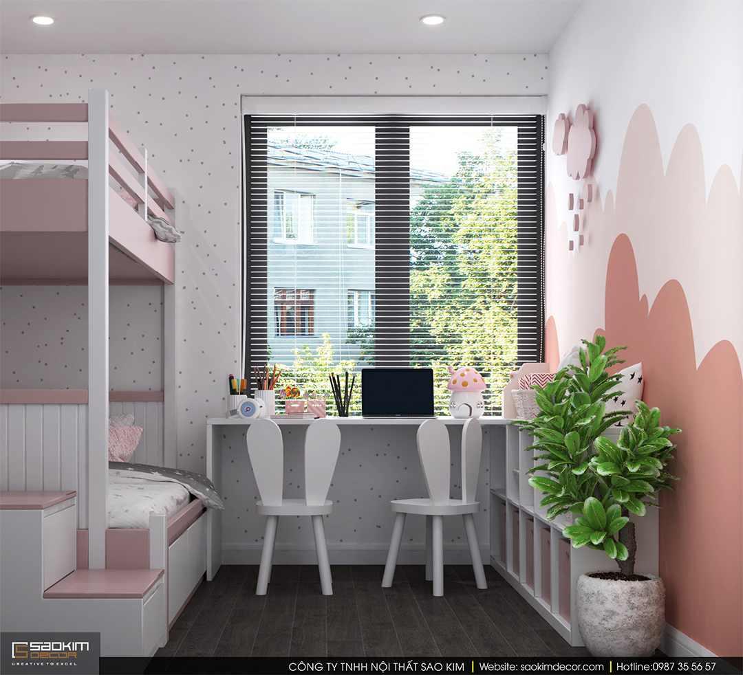 Thiết kế phòng ngủ cho bé gái chung cư Sky Central