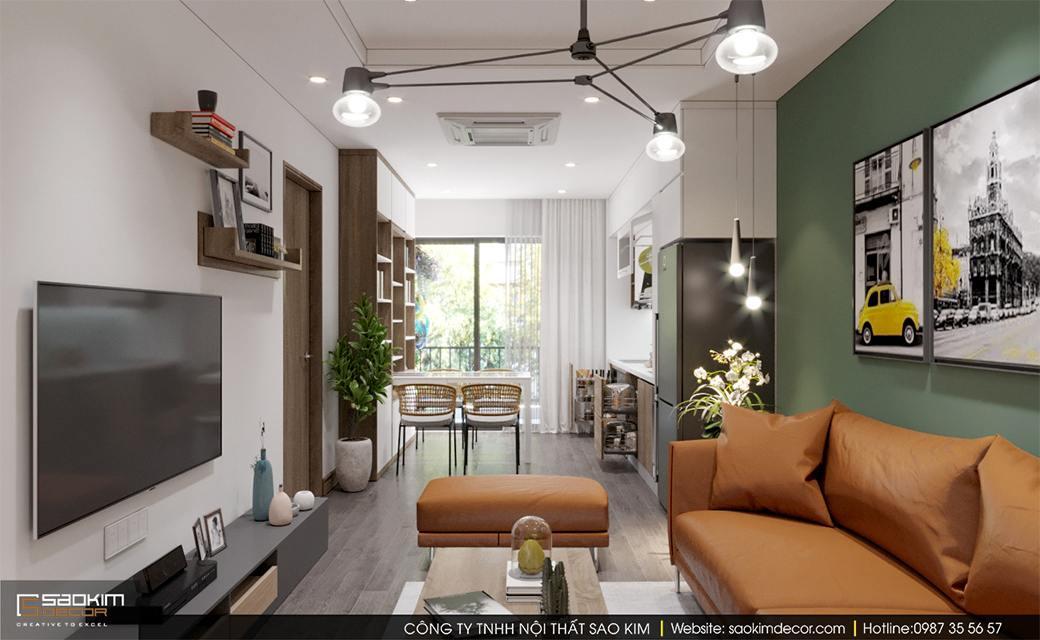 Thiết kế nội thất phòng khách căn hộ Sky Central