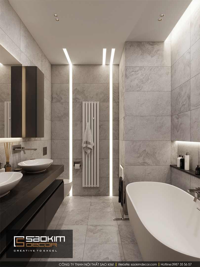Thiết kế phòng tắm chung cư 85m2 Bohemia Residence