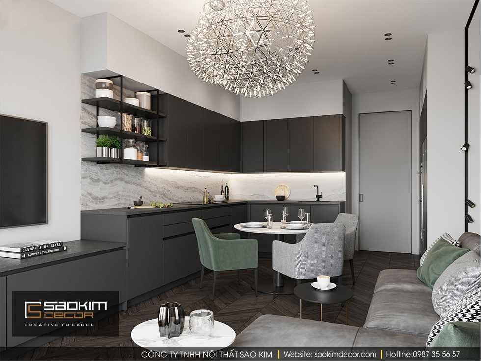 Thiết kế phòng ăn và bếp chung cư 85m2 Bohemia Residence