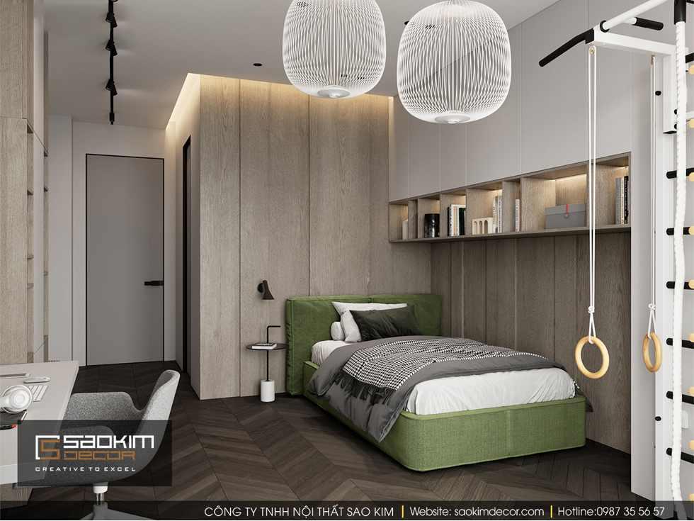 Thiết kế phòng ngủ bé trai chung cư 85m2 Bohemia Residence