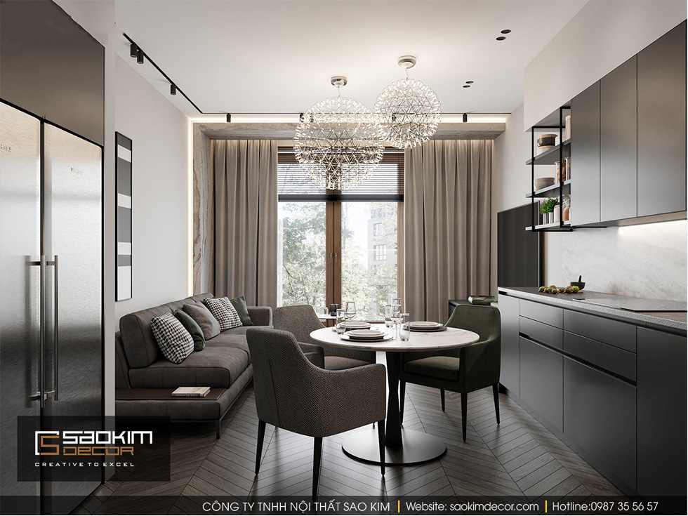 Thiết kế phòng khách chung cư 85m2 Bohemia Residence