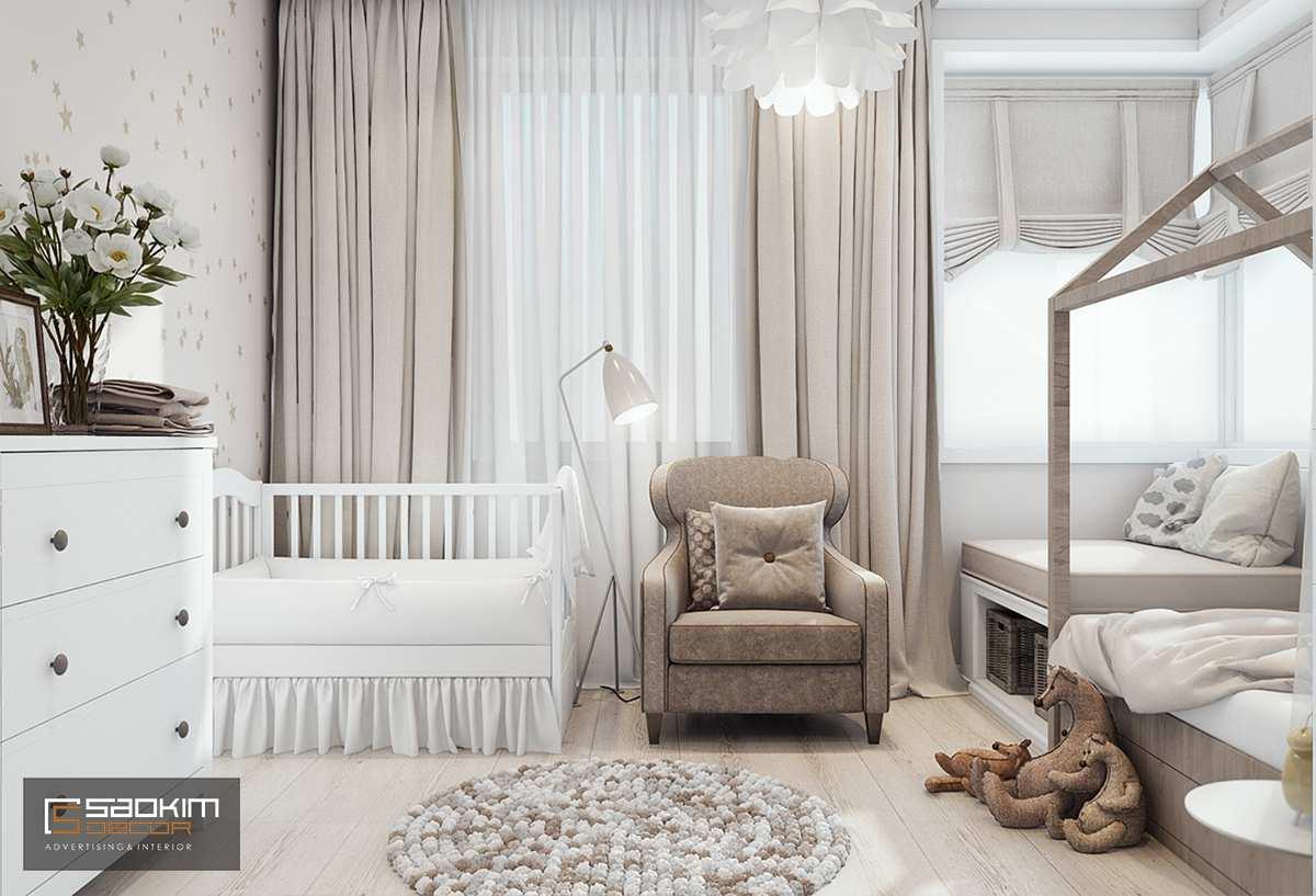 Thiết kế phòng ngủ bé gái chung cư cao cấp Golden Land