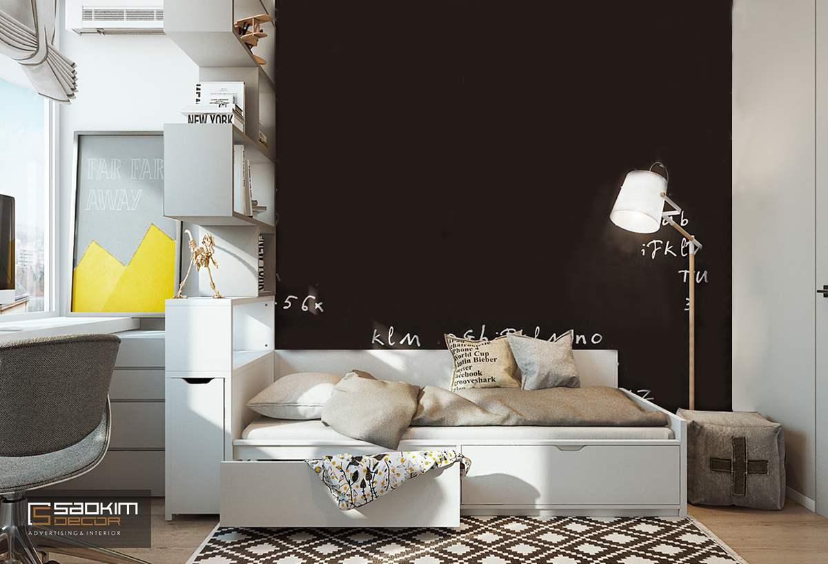 Thiết kế phòng ngủ của bé trai chung cư cao cấp Golden Land