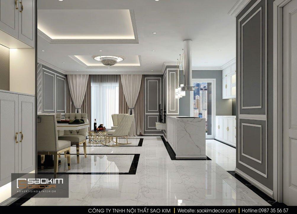 Thiết kế nội thất phòng khách chung cư Vinhomes Times City