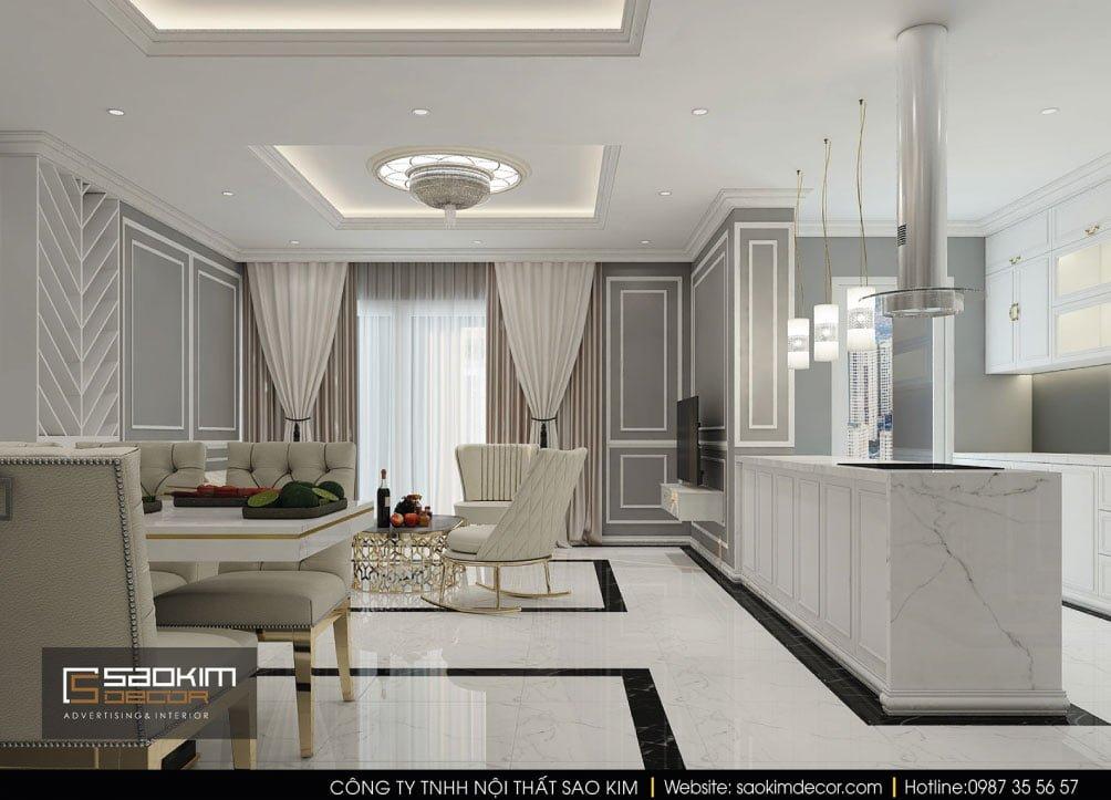 Thiết kế nội thất phòng bếp và bàn ăn chung cư Vinhomes Times City
