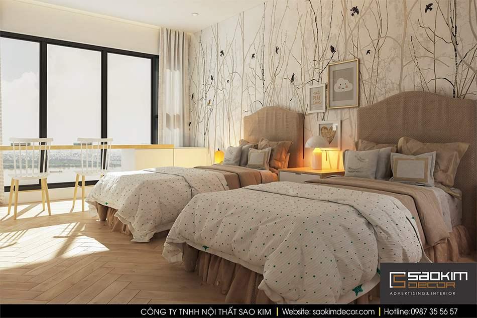 Thiết kế nội thất phòng ngủ chung cư hiện đại Mipec Riverside - phòng ngủ con