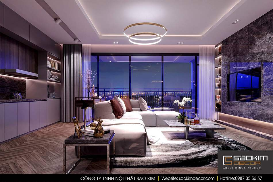 Thiết kế nội thất phòng khách và bếp chung cư hiện đại Mipec Riverside