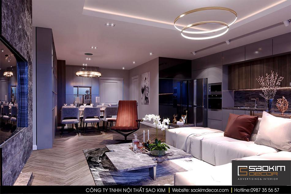 Thiết kế nội thất phòng khách và bếp chung cư