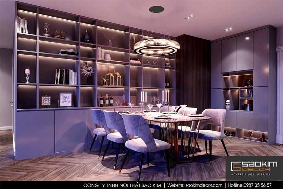 Thiết kế nội thất phòng ăn chung cư hiện đại cao cấp Mipec Riverside