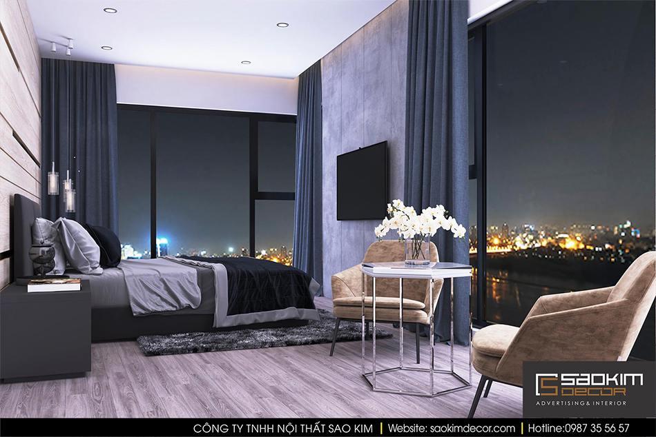 Thiết kế nội thất phòng ngủ chung cư hiện đại Mipec Riverside - phòng ngủ master