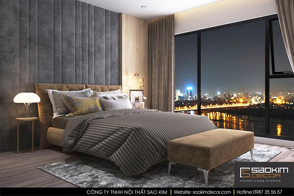 Thiết kế nội thất phòng ngủ chung cư hiện đại Mipec Riverside - phòng ngủ 2