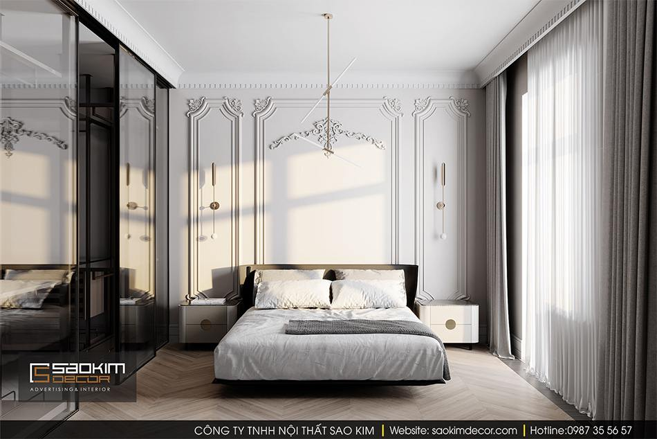 Thiết kế nội thất phòng ngủ master chung cư cao cấp CT1 Eco Green City