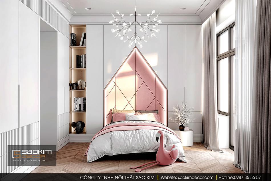 Thiết kế nội thất phòng ngủ bé gái chung cư cao cấp CT1 Eco Green City