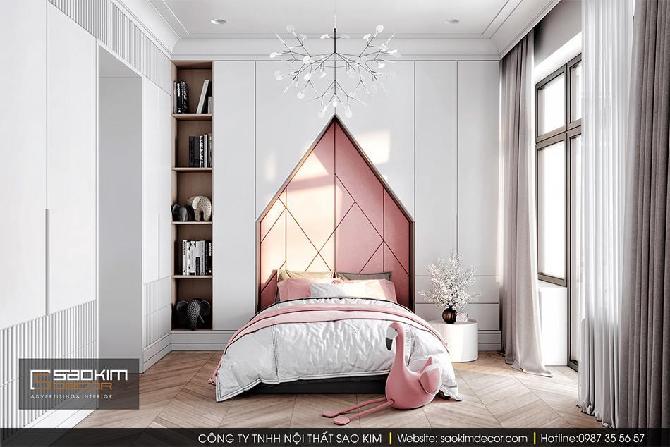 Thiết kế nội thất phòng ngủ cho bé gái chung cư CT1 Eco Green City