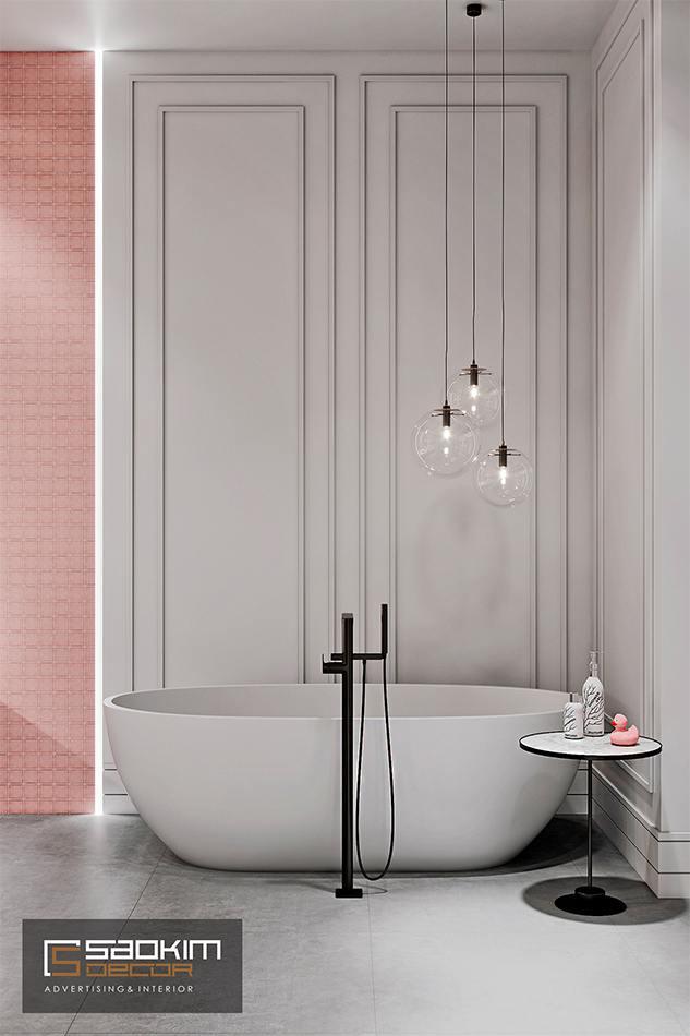 Thiết kế nội thất phòng tắm sang trọng, nữ tính