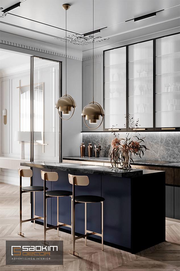 Thiết kế nội thất phòng bếp chung cư CT1 Eco Green City theo phong cách Tân Cổ Điển