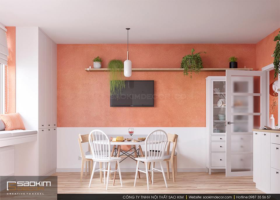 Thiết kế phòng bếp chung cư 60m2 FLC Garden City sử dụng gam màu cam nổi bật