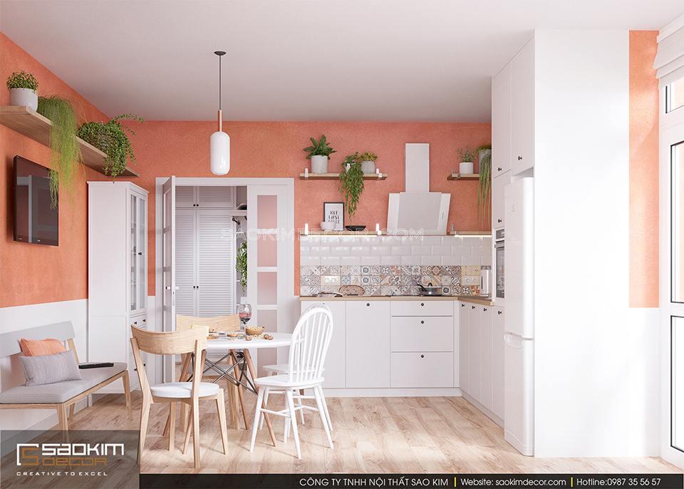 Thiết kế phòng bếp chung cư FLC Garden City đẹp mắt, không gian xanh mát