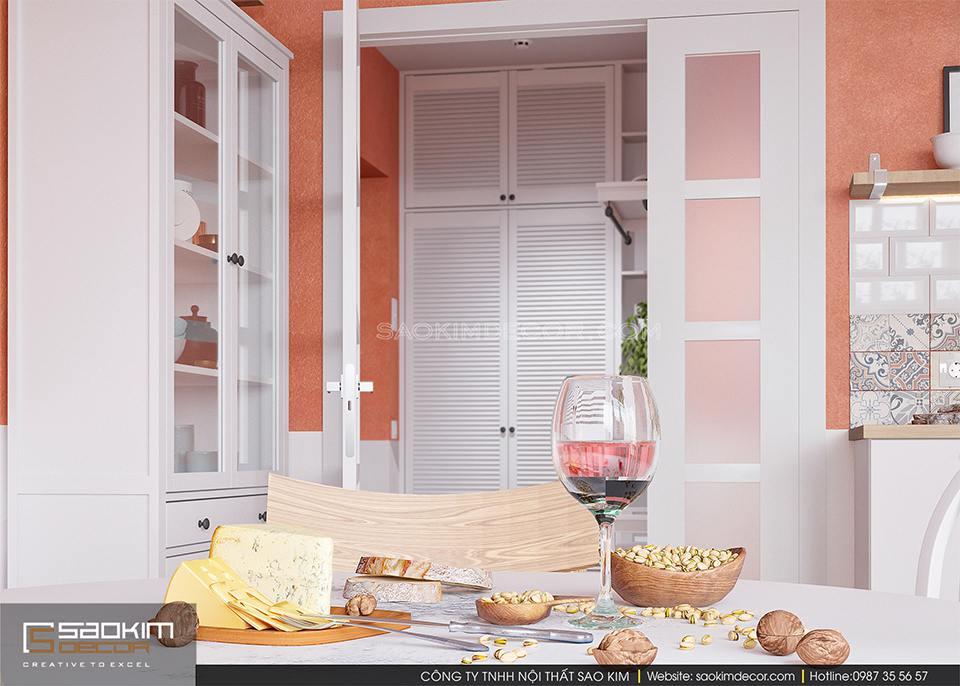 Phòng bếp được bố trí một cách khoa học