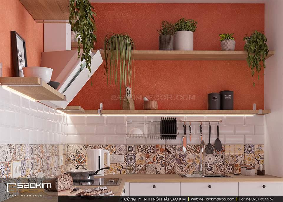 Thiết kế phòng bếp chung cư 60m2 FLC Garden City đẹp mắt, không gian xanh mát