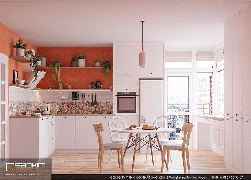 Thiết kế phòng bếp chung cư đẹp phong cách Scandinavian