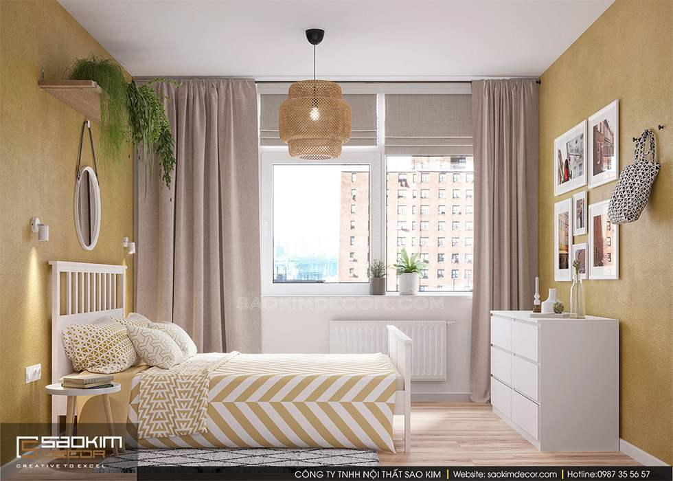 Thiết kế nội thất phòng ngủ chung cư 60m2 FLC Garden City