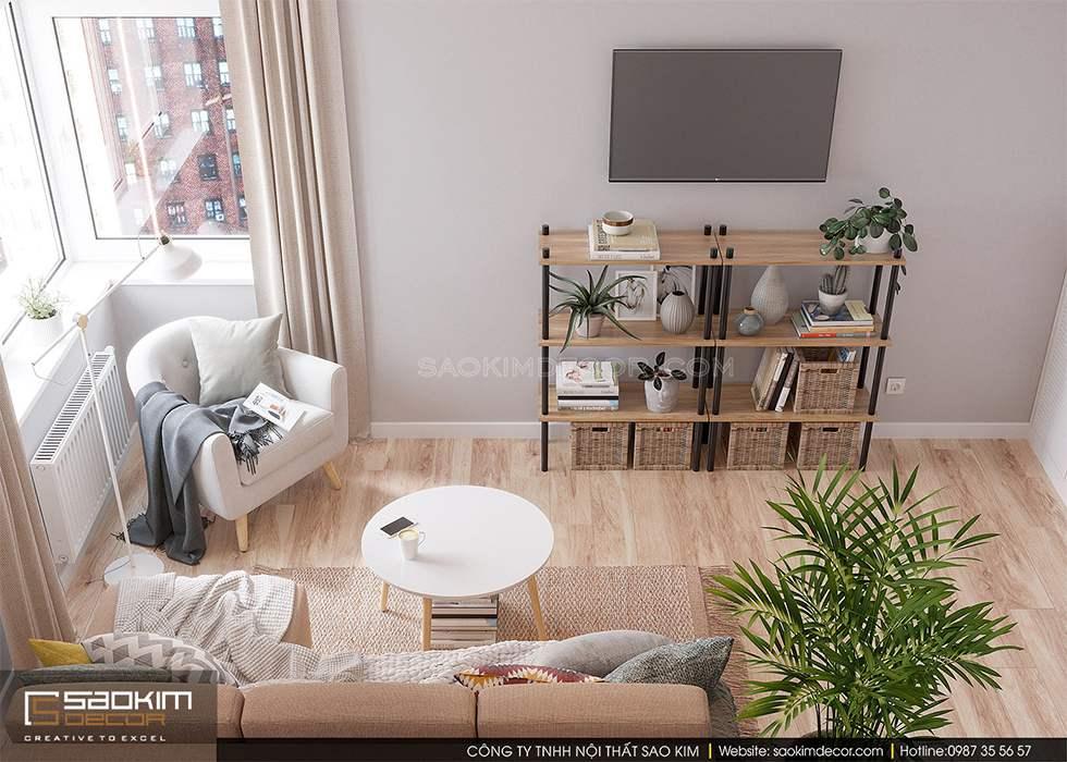 Thiết kế phòng khách chung cư với sự kết hợp màu sắc khéo léo mang đến cảm giác thư giãn cho gia chủ