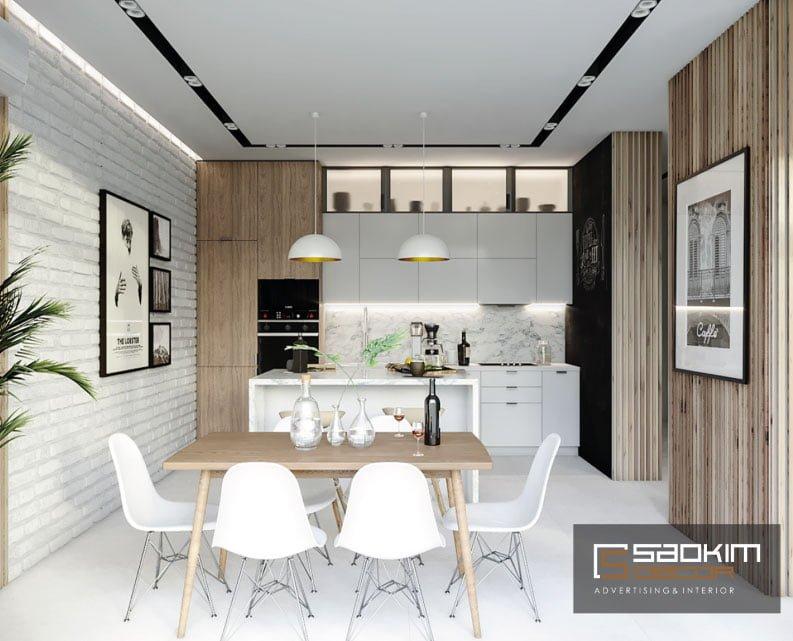 Thiết kế phòng bếp chung cư New Sky Complex theo phong cách Bắc Âu