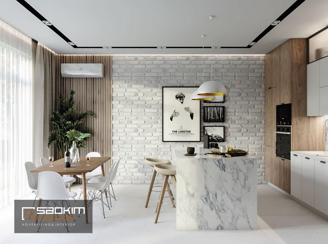 Thiết kế phòng bếp chung cư New Sky Complex theo phong cách Scandinavian