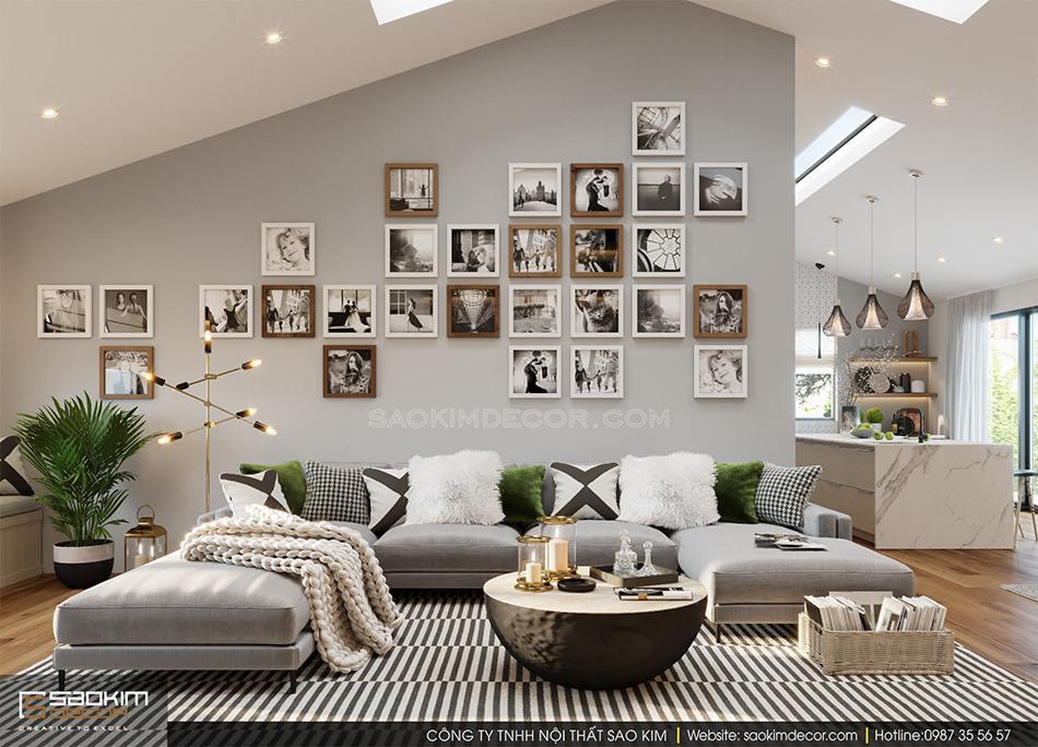 Không gian phòng khách trong thiết kế nhà 2 tầng đẹp