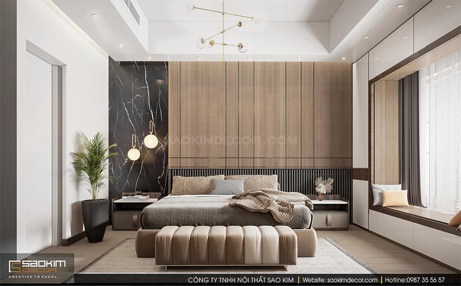 Thiết kế nội thất phòng ngủ Master nhà phố