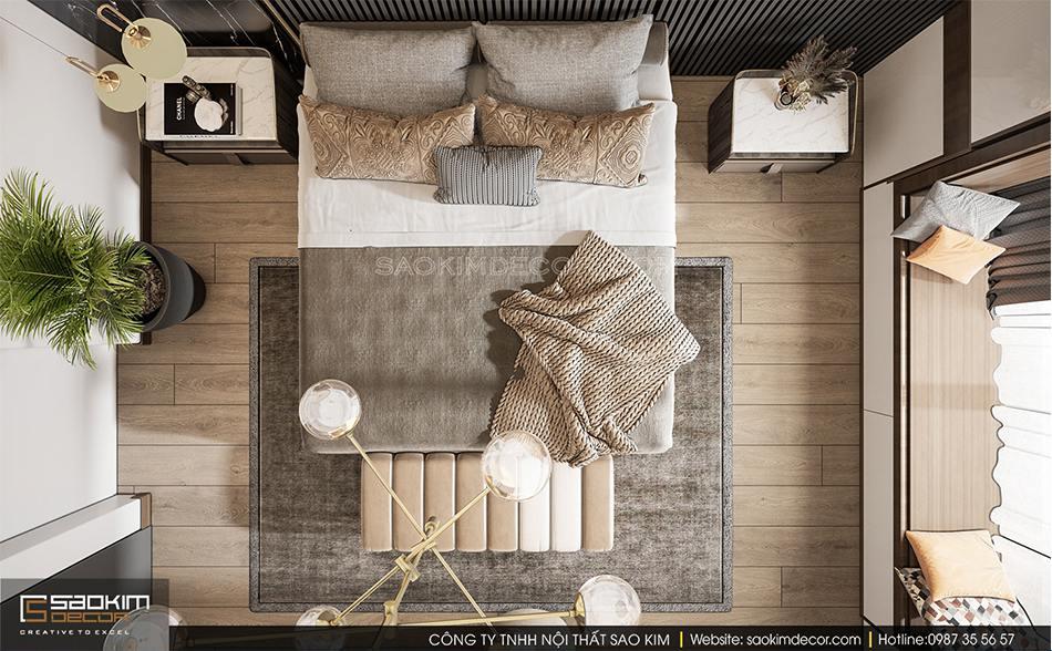 Không gian phòng ngủ nhẹ nhàng, thư giãn