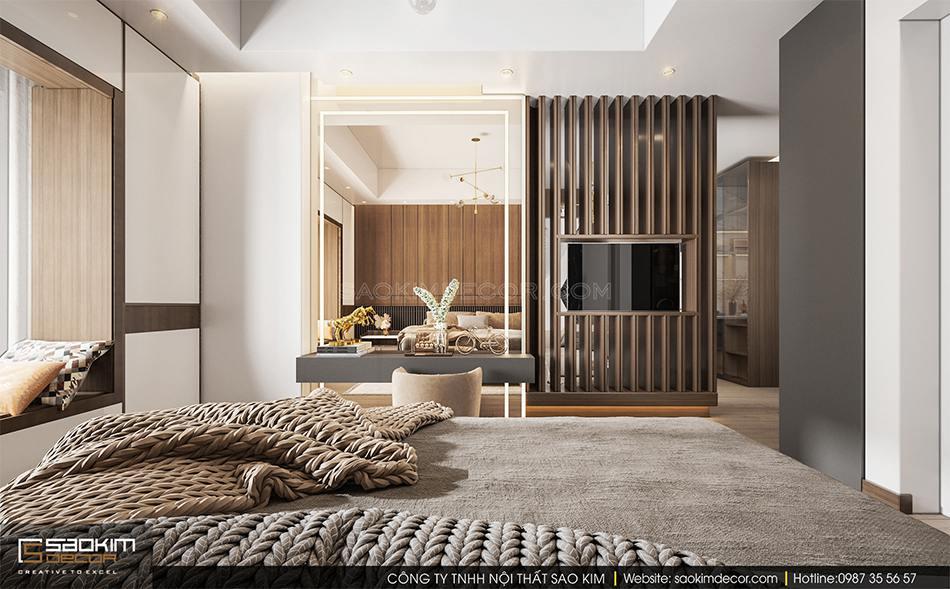 Thiết kế nội thất phòng ngủ Master theo phong cách hiện đại