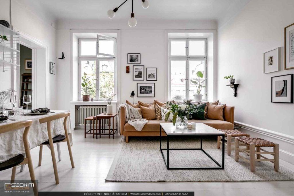 Gam màu trắng thường được lựa chọn là màu chủ đạo trong mẫu thiết kế chung cư Scandinavian