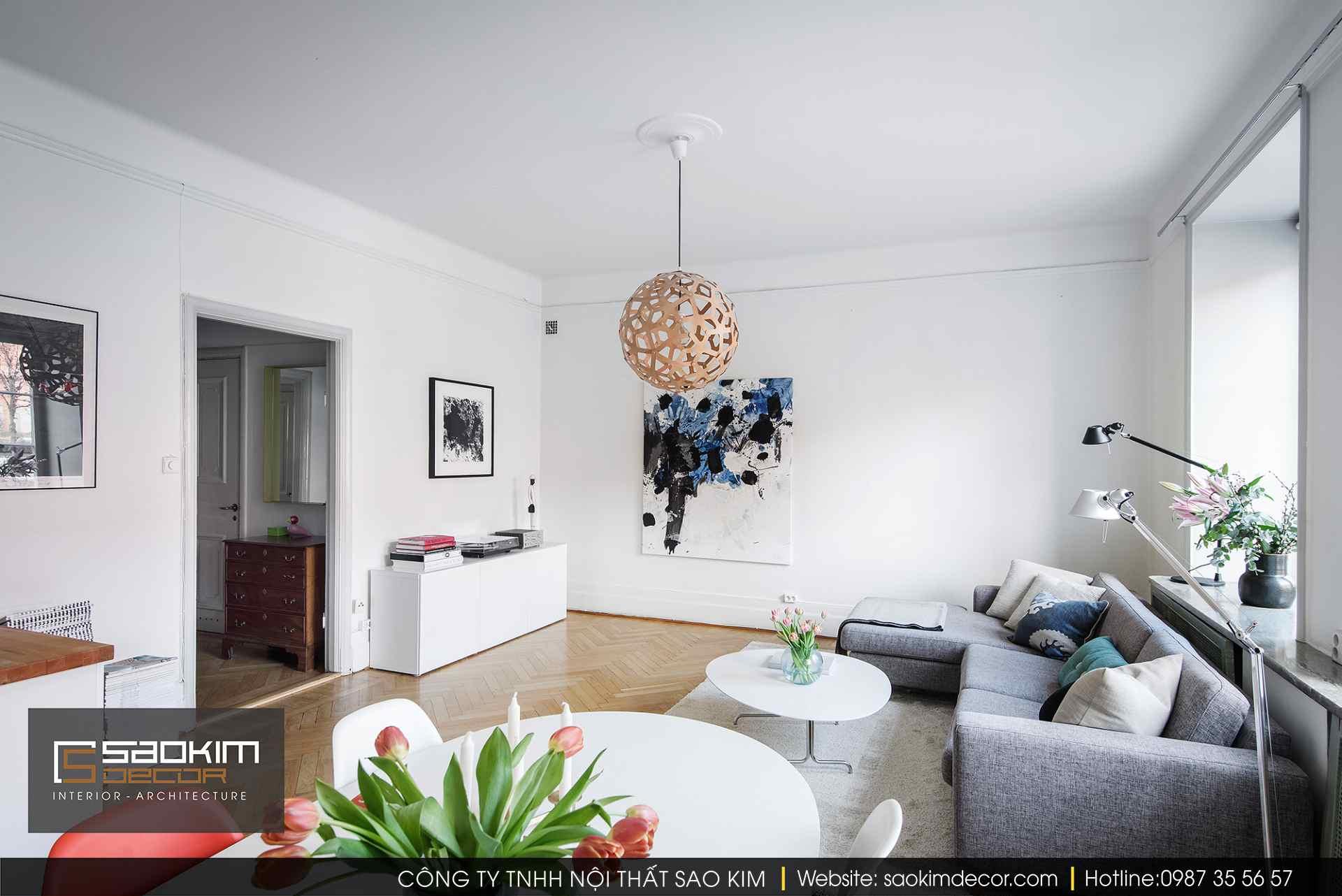 Thiết kế và thi công nội thất phòng khách phong cách Scandinavian (Bắc Âu)