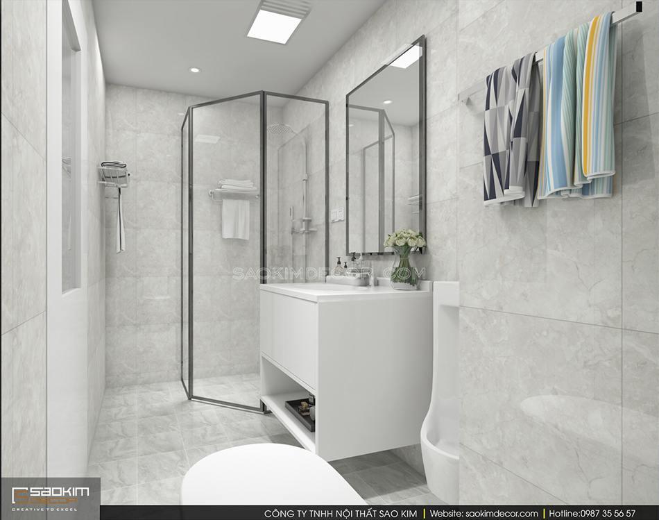 Thiết kế nội thất phòng tắm 1 chung cư 150m2 CT1A Hàm Nghi