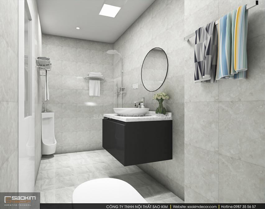 Thiết kế nội thất phòng tắm 2 chung cư 150m2 CT1A Hàm Nghi