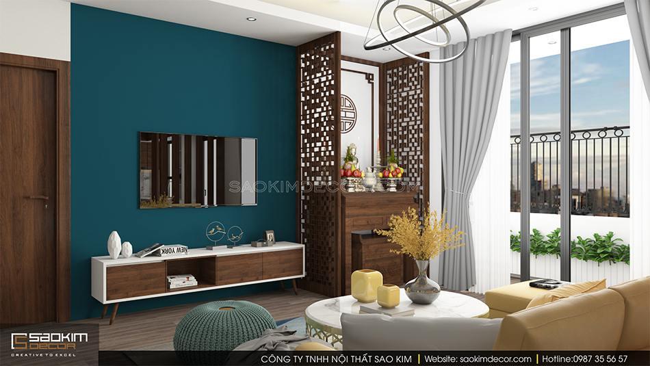 Thiết kế nội thất phòng khách chung cư CT1A Hàm Nghi