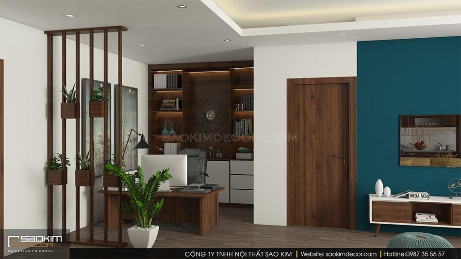 Thiết kế phòng làm việc tại nhà chung cư CT1A Hàm Nghi