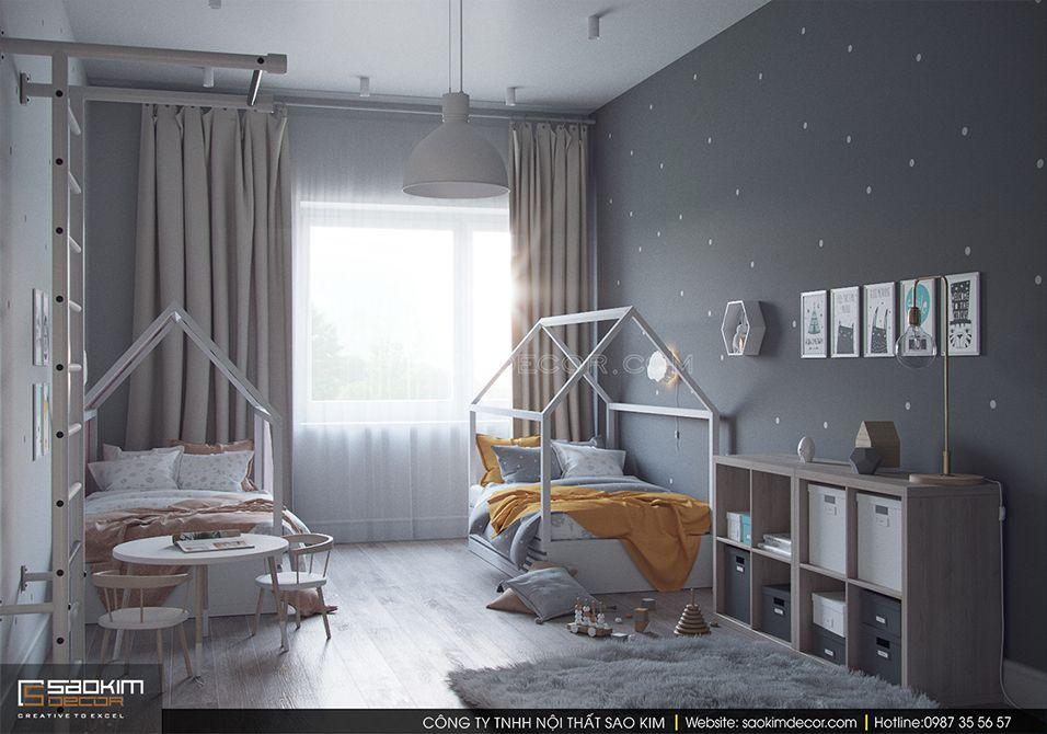 Thiết kế nội thất phòng ngủ trẻ em khu đô thị Trung Hòa - Nhân Chính