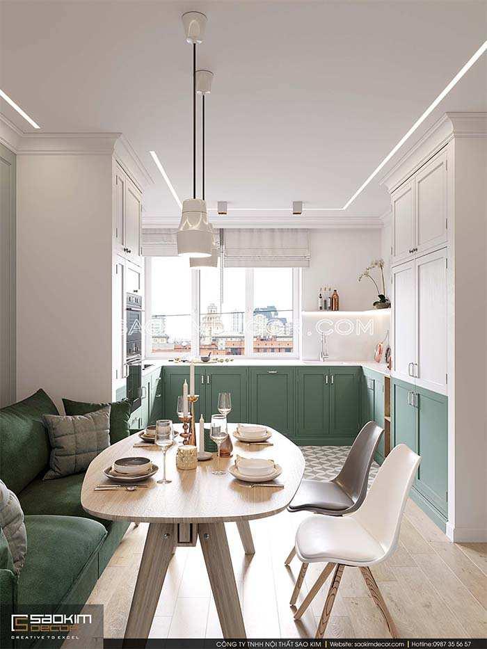 Thiết kế phòng khách và bếp chung cư bán cổ điển Park Hill Time City