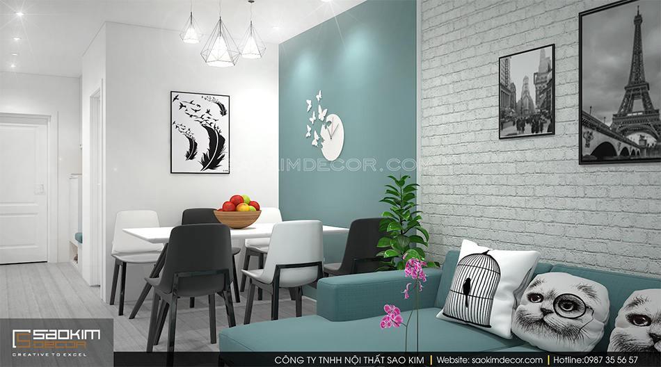 Thiết kế nội thất phong cách Scandinavian - phòng khách chung cư Roman Plaza