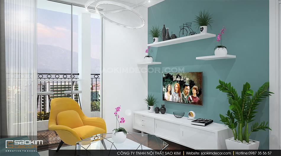 Thiết kế nội thất phòng khách chung cư Roman Plaza