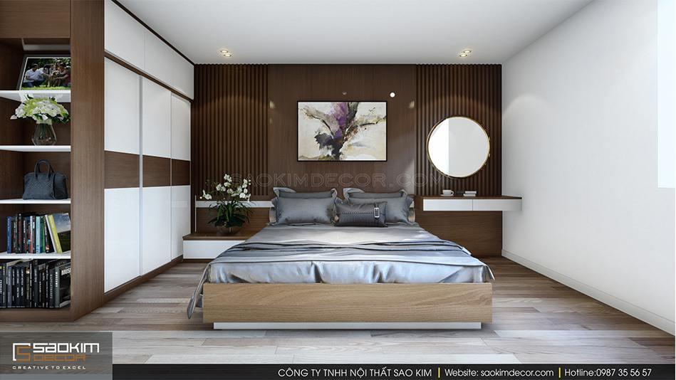 Thiết kế nội thất phòng ngủ master chung cư Xuân Mai